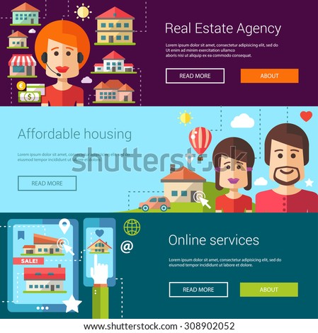 Set of real estate flat vector modern illustrations, banners, headers with icons, buildings and characters. Flyers for your design