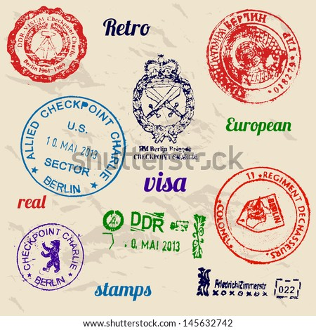 Set of real stamps from Berlin Wall. Vector illustration EPS8 - stock vector
