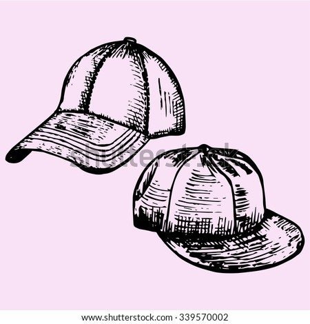 set of realistic baseball cap, doodle style, sketch illustration, hand drawn, vector - stock vector