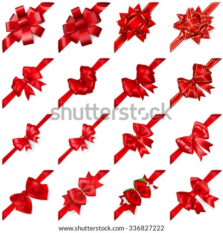 Set of realistic beautiful red bows with ribbons arranged diagonally with shadows - stock vector