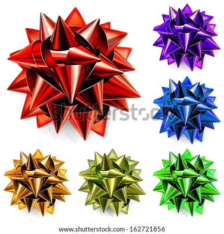 Set of realistic bows made of multicolored shiny ribbons - stock vector