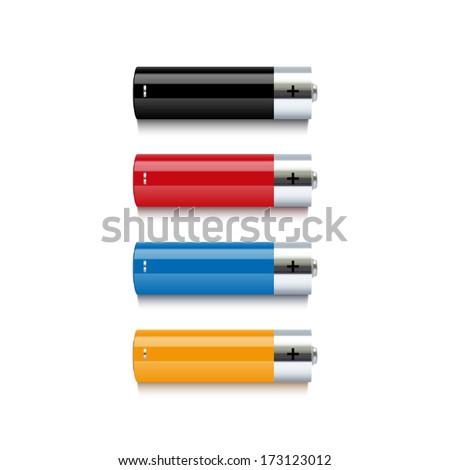 Set of realistic colorful batteries isolated on white background. Vector illustration - stock vector