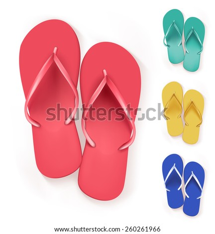 Set of Realistic Colorful Flip Flops Slippers. Vector Illustration