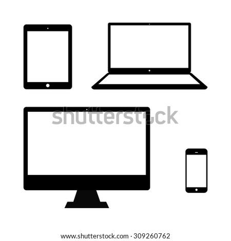 Set of realistic computer monitor, laptop, tablet and mobile phone.  Electronic gadget isolated on white background. - stock vector