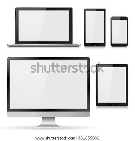 Set of realistic computer monitor, laptop, tablet and mobile phone with empty white screen. Various modern electronic gadget isolated on white background. Vector illustration  EPS10 - stock vector