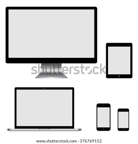 Set of realistic computer monitor, laptop, tablets and mobile phone. Electronic gadgets isolated on white background - stock vector