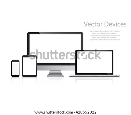 Set of realistic computer monitors, laptops, tablets and mobile phones. Electronic gadgets, isolated, on white  background - stock vector