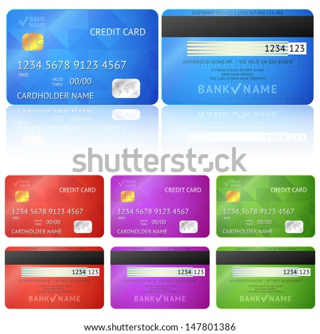 Set of realistic credit card two sides isolated on white background. Vector illustration for your business design. Detailed glossy cards.