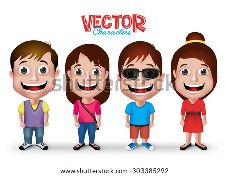 Set of Realistic 3D Boys and Girls Young Adult Kids Characters Happy Smiling in Casual Dress Fashion Isolated in White Background. Editable Vector Illustration - stock vector