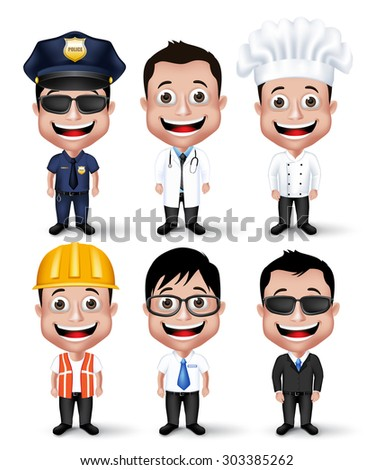 Set of Realistic 3D Professional Occupation Man Characters Happy Smiling Isolated in White Background. Editable Vector Illustration - stock vector