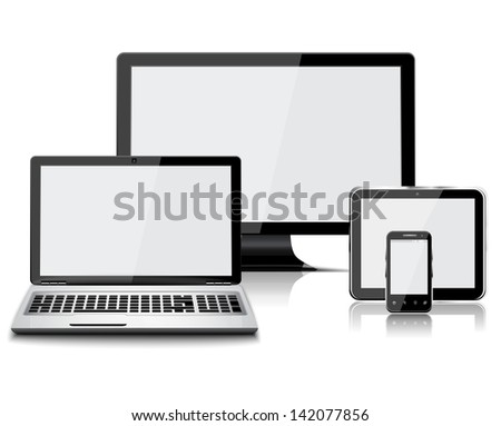 Set of realistic display, laptop, tablet computer and mobile phone template - stock vector