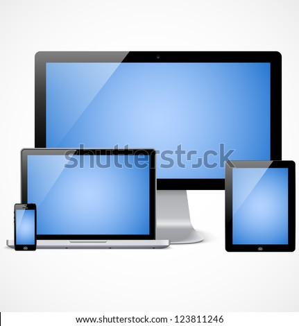 Set of realistic display, laptop, tablet computer and mobile phone template with blue screen - stock vector