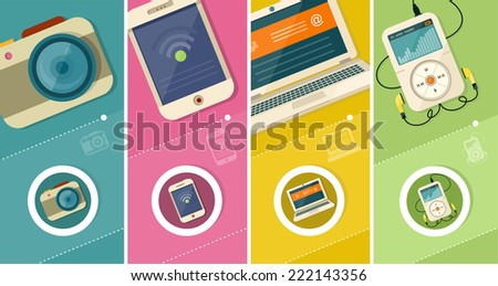 Set of realistic display laptop tablet computer smartphone MP3 player camera and mobile phone template in flat design style. Different modern personal gadgets - stock vector