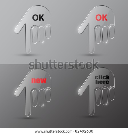 Set of realistic glass hand cursors - stock vector