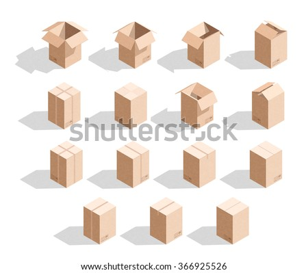 Set of 15 realistic isometric cardboard boxes with texture. Templates box for design - stock vector