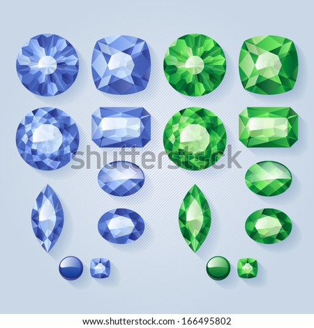 Set of realistic jewels - green and blue. Colorful gemstones. - stock vector