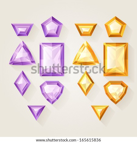 Set of realistic jewels - purple and yellow. Colorful gemstones. - stock vector