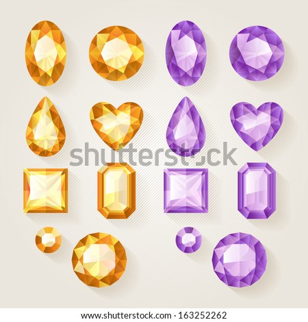 Set of realistic jewels - yellow and violet. Colorful gemstones. - stock vector