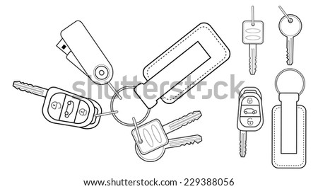 Set of realistic keys icons: remote car starter, usb flash drive, leather trinket, group of house keys. Contour lines illustration isolated on white - stock vector