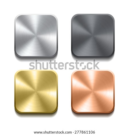 Set of realistic metal buttons with circular processing. Vector illustration - stock vector
