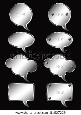 Set of realistic metallic speech bubbles. Vector illustration. - stock vector