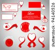 Set of realistic new stickers with peeling corners with hearts for Valentines Day . Vector illustration - stock vector