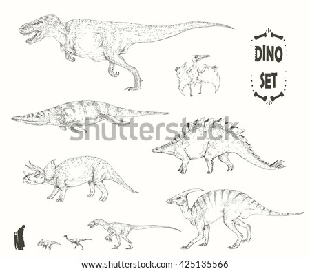 Set of realistic sketches of dinosaurs and fossils. Hand drawn vector illustration. Silhouettes of man and children, comparison of sizes, realistic size. - stock vector