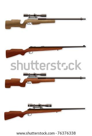 Set of realistic sniper rifles - stock vector