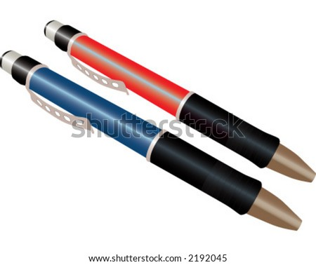 Set of realistic tools for writing - stock vector