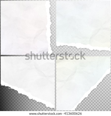 Set of Realistic torn paper pieces, isolated on transparent background. EPS 10 vector file included - stock vector