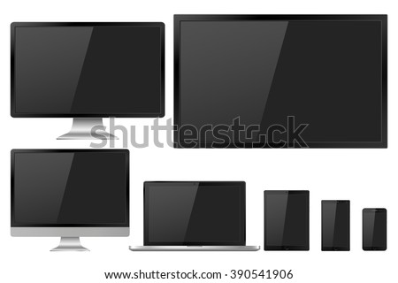 Set of realistic TV,  lcd, led, computer monitor, laptop, tablet and mobile phone with empty screen. Various modern electronic gadget isolated on white background. Vector illustration EPS10 - stock vector