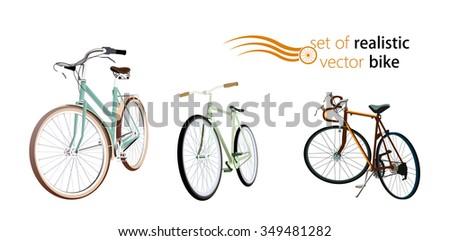 set of realistic vector bike - stock vector