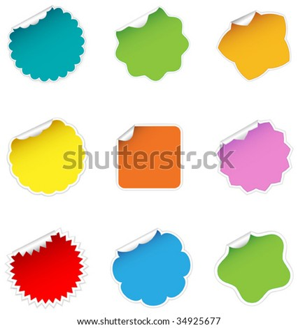 Set of realistic vector stickers - stock vector