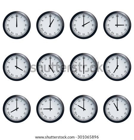 Set of realistic wall clocks with Roman numerals, with the times set at every hour. - stock vector