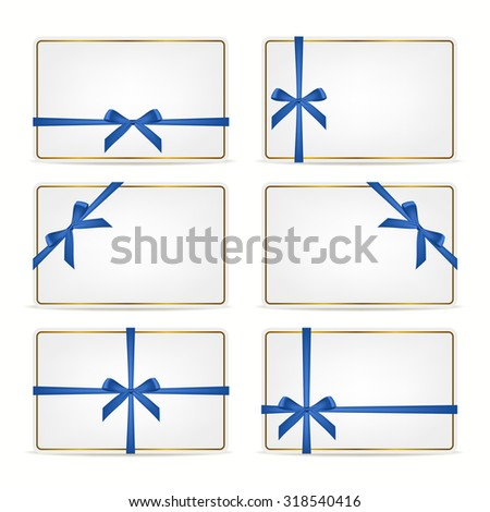 Set of realistic white gift cards with blue ribbons and gold frame. Vector EPS10 illustration.  - stock vector