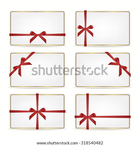 Set of realistic white gift cards with red ribbons and gold frame. Vector EPS10 illustration.  - stock vector