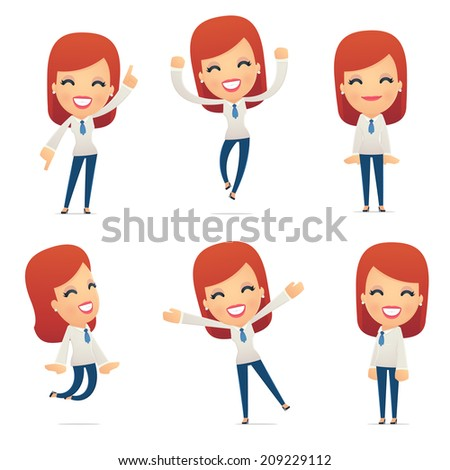 set of reception character in different interactive  poses - stock vector