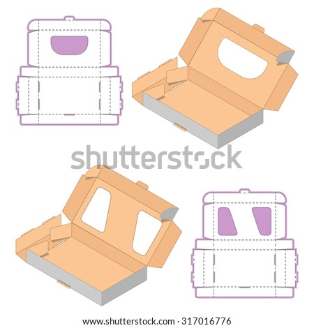 Set of Rectangle Box Design,Container die-stamping, Folding Folded Packaging, Ready Pack, No Glue Needed - stock vector