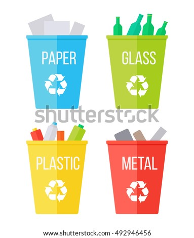 Reduce reuse recycle stock images royalty free images vectors set of recycle garbage bins blue with paper yellow with plastic red with publicscrutiny Gallery
