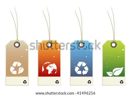 set of recycle price tags - stock vector