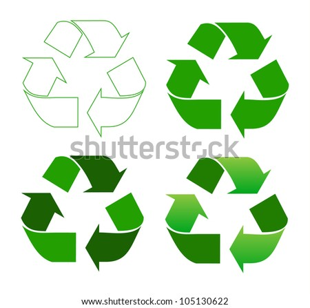 Set of recycle sign on white - stock vector