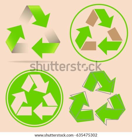 Set Recycle Symbols Stock Vector 635475302 Shutterstock