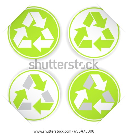 Set Recycle Symbols Sticker Style Stock Vector Hd Royalty Free