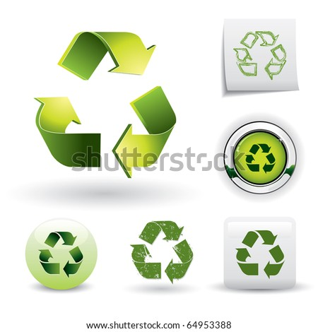 Set of recycling symbols - stock vector