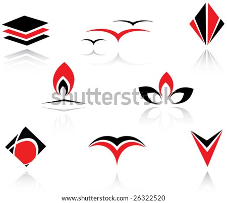 Set of red and black symbols or logo template. Jpeg version also available - stock vector