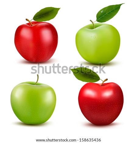 Set of red and green apple fruits with cut and green leaves. Vector illustration.  - stock vector