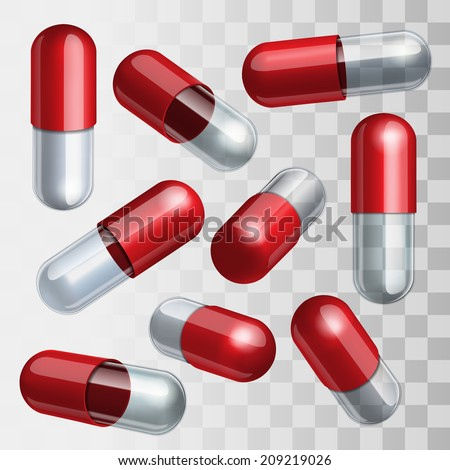 Set of red and transparent medical capsules in different positions Vector illustration - stock vector