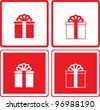 set of red and white gift box - stock vector