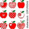 set of red apple icon isolated on white background. Vector illustration - stock vector