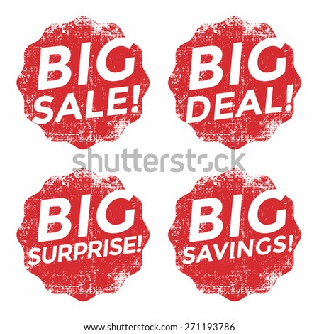 Set of red big sale grunge stamp - stock vector